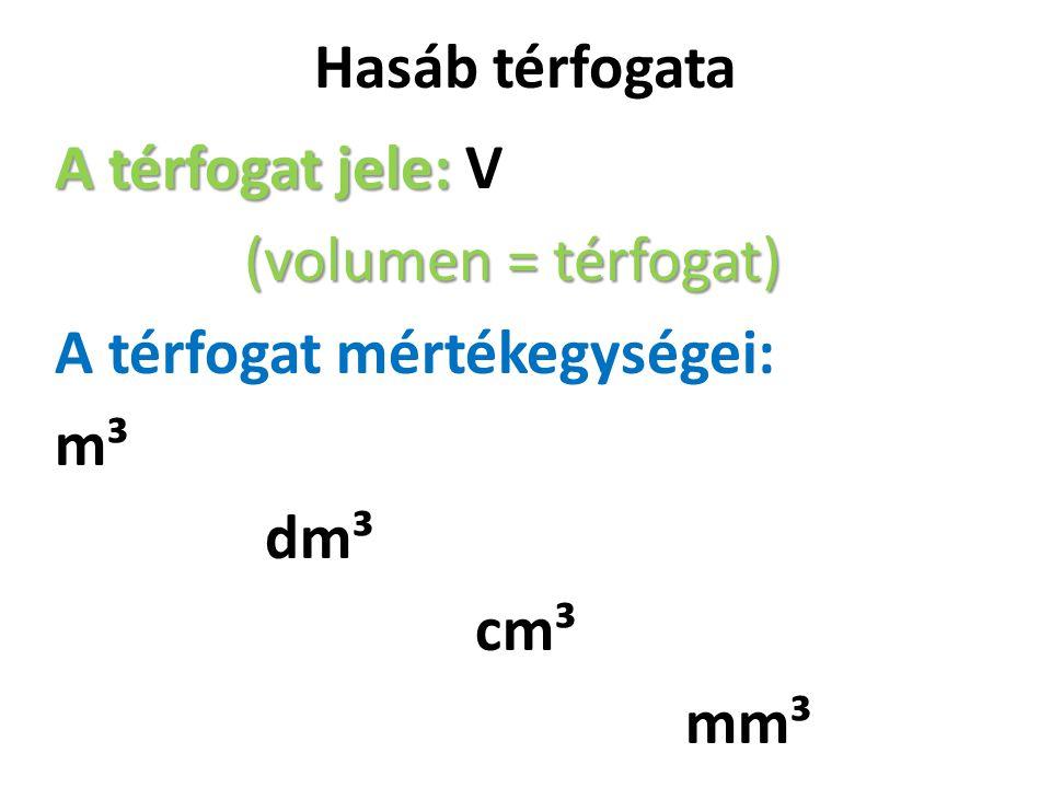 Hasáb térfogata A térfogat jele: A térfogat jele: V (volumen = térfogat) A térfogat mértékegységei: m³ dm³ cm³ mm³