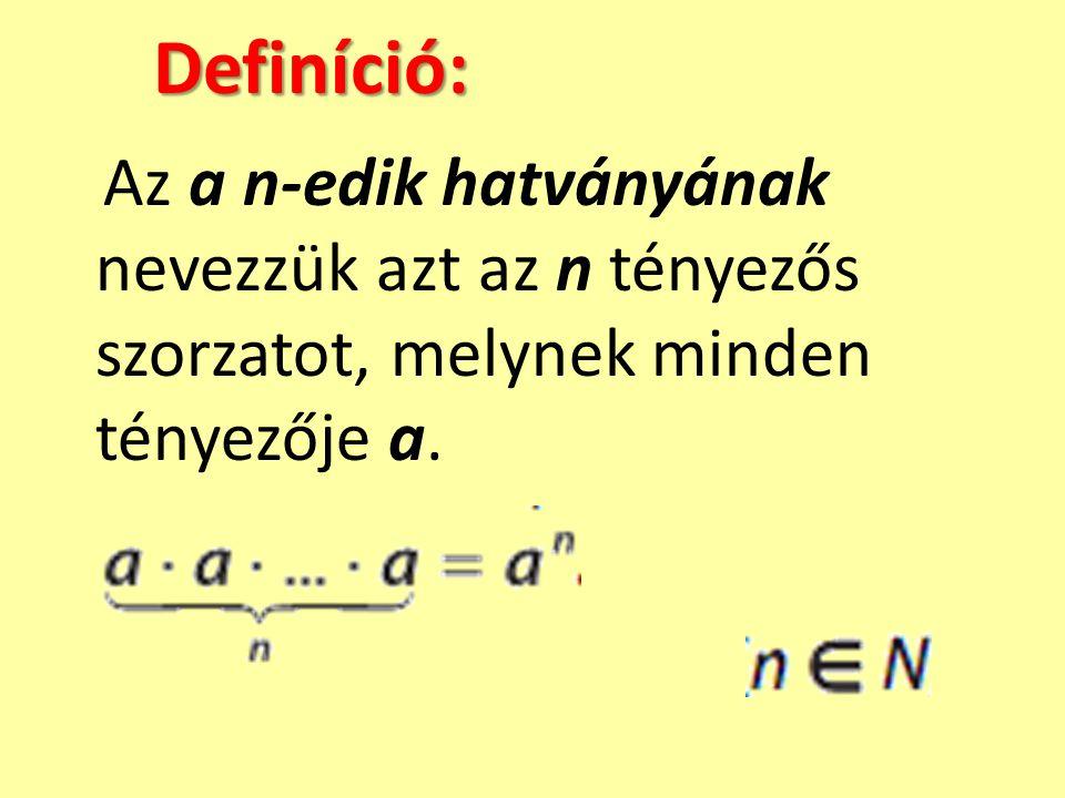 Definíció: Az a n-edik hatványának nevezzük azt az n tényezős szorzatot, melynek minden tényezője a.