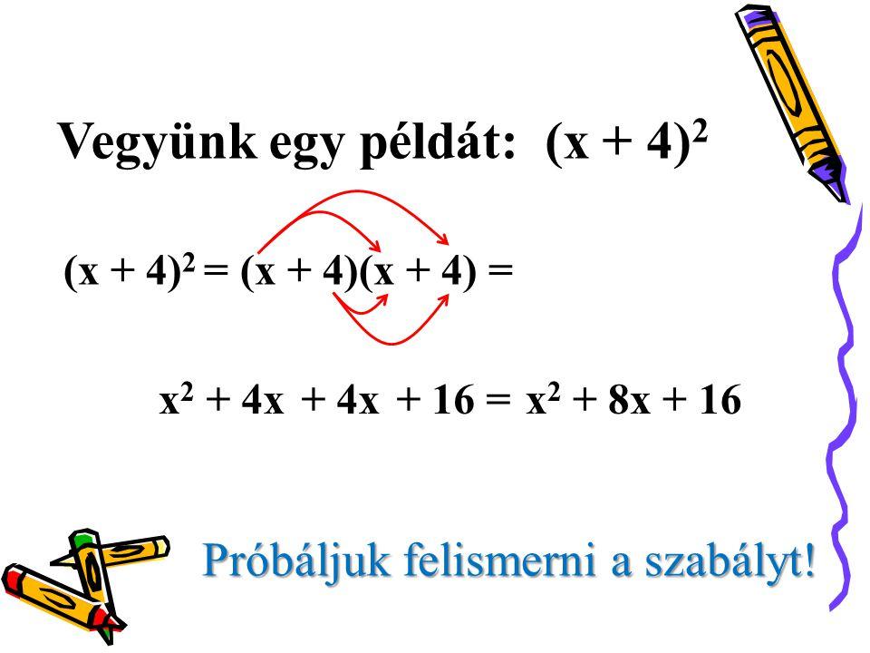 Vegyünk egy példát: (x + 4) 2 (x + 4) 2 = (x + 4)(x + 4) = Próbáljuk felismerni a szabályt! x2x2 + 4x+ 16 =+ 4xx2 x2 + 8x + 16