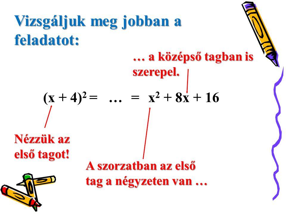 (x + 4) 2 = … =x 2 + 8x + 16 Nézzük az első tagot! A szorzatban az első tag a négyzeten van … … a középső tagban is szerepel. Vizsgáljuk meg jobban a