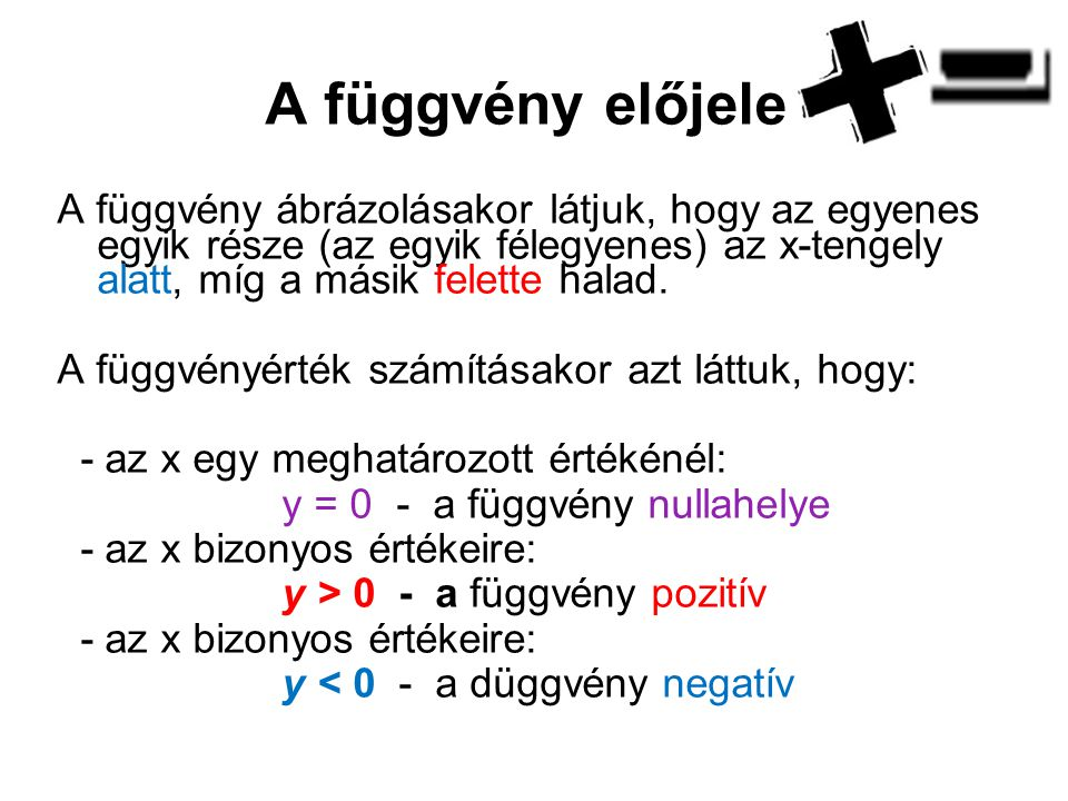 Példák: y = 2x – 4 X012345 y-6-4-20246X-4-3-2012y3210 -1-1-1-1-2-3 a függvény növekvő x < 2  y < 0 x > 2  y > 0 x = 2  y = 0 a függvény csökkenő x < -1  y > 0 x > -1  y < 0 x = -1  y = 0 y = - x – 1y = - x – 1y = - x – 1y = - x – 1 k = 2, k > 0, k = -1, k < 0,