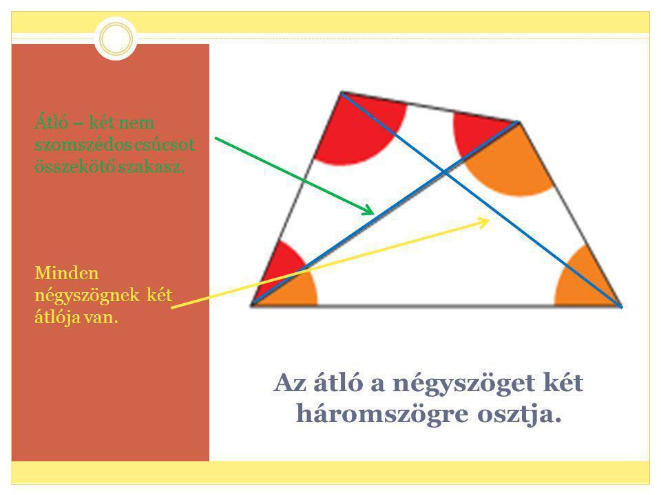 Az átló a négyszöget két háromszögre osztja. Átló – két nem szomszédos csúcsot összekötő szakasz. Minden négyszögnek két átlója van.