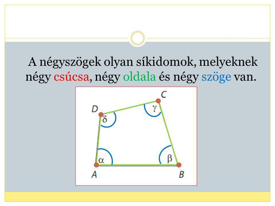 Konvex négyszögek Konkáv négyszögek A négyszögek lehetnek: