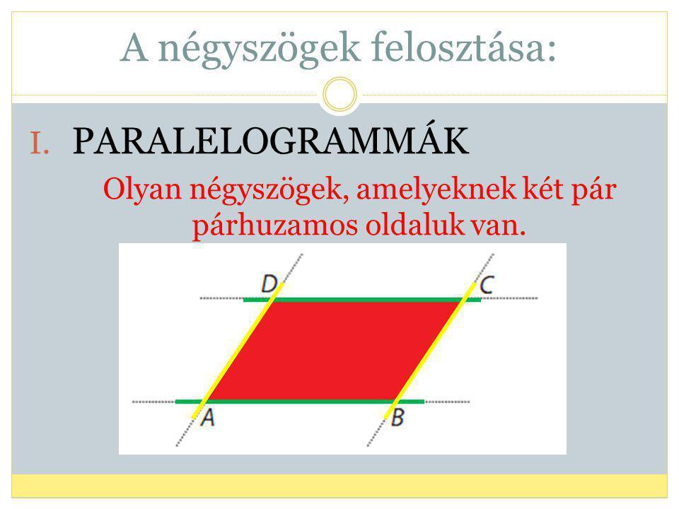A négyszögek felosztása: I. PARALELOGRAMMÁK Olyan négyszögek, amelyeknek két pár párhuzamos oldaluk van.