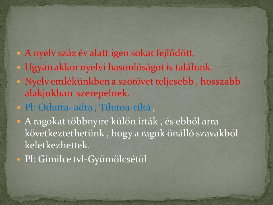 Nyelvemlékünkben sok olyan szót találunk, amelyeket ma már nem használunk, ezeket kihalt szavaknak nevezzük.