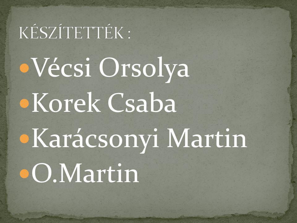 Vécsi Orsolya Korek Csaba Karácsonyi Martin O.Martin