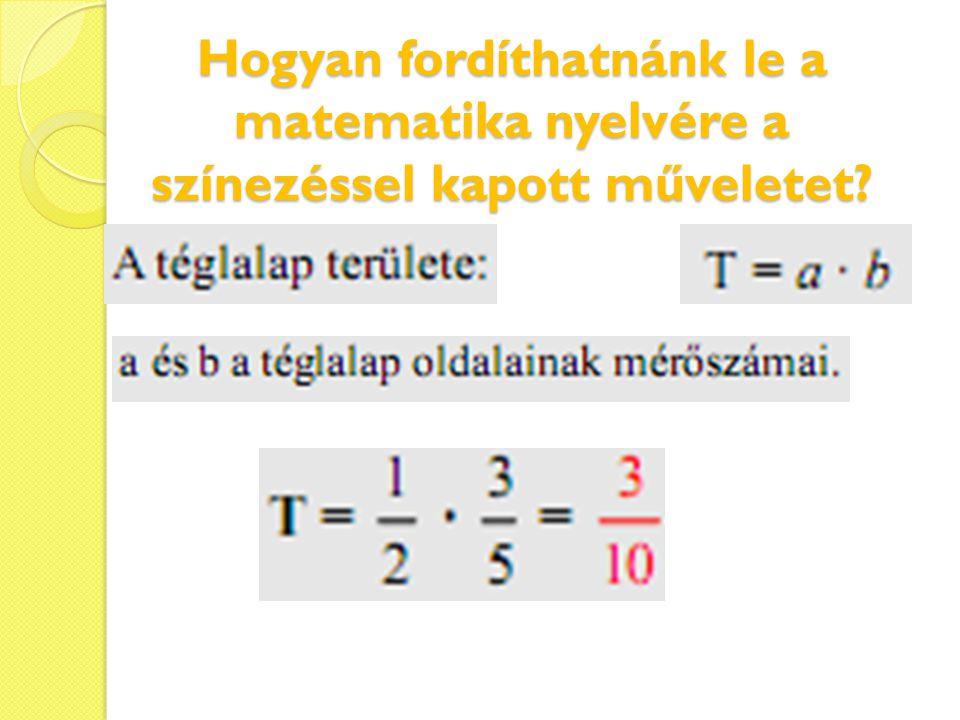 Hogyan fordíthatnánk le a matematika nyelvére a színezéssel kapott műveletet?