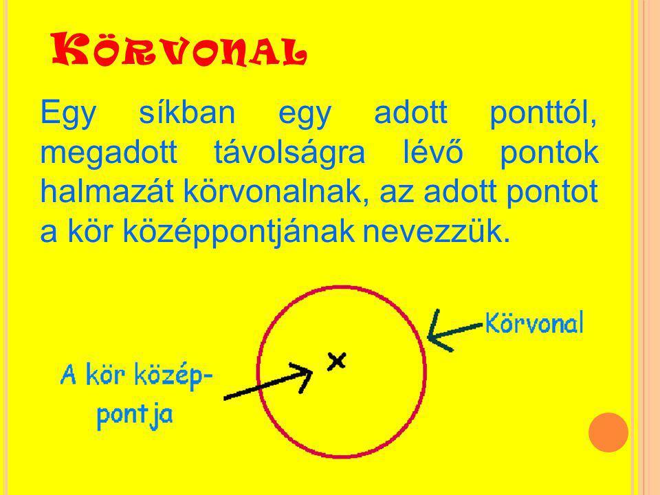 K ÖR Egy síkban egy adott ponttól a megadottnál nem nagyobb távol- ságra lévő pontok halmazát körnek vagy körlapnak nevezzük.