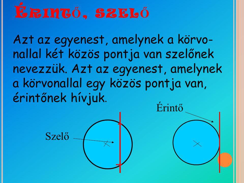 É RINT Ő, SZEL Ő Azt az egyenest, amelynek a körvo- nallal két közös pontja van szelőnek nevezzük. Azt az egyenest, amelynek a körvonallal egy közös p