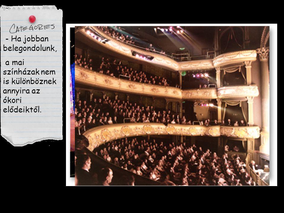 - Ha jobban belegondolunk, a mai színházak nem is különböznek annyira az ókori elődeiktől.