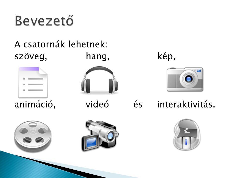 A csatornák lehetnek: szöveg, hang, kép, animáció, videó és interaktivitás.