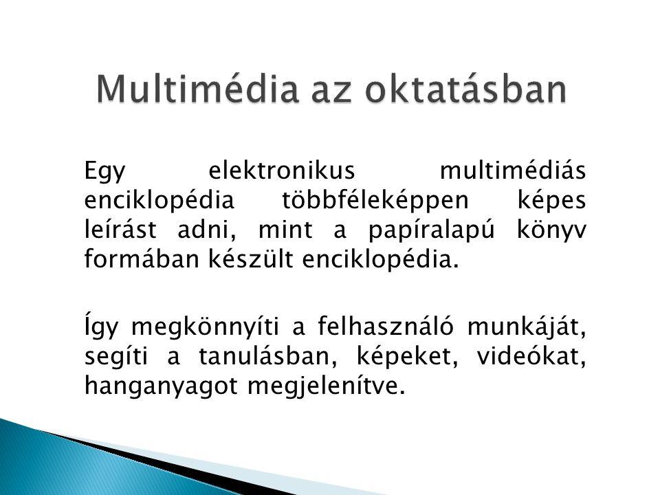 Egy elektronikus multimédiás enciklopédia többféleképpen képes leírást adni, mint a papíralapú könyv formában készült enciklopédia.