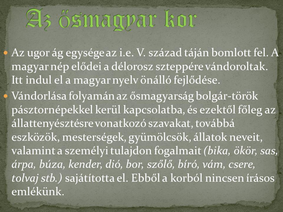 Az ugor ág egysége az i.e. V. század táján bomlott fel. A magyar nép elődei a délorosz szteppére vándoroltak. Itt indul el a magyar nyelv önálló fejlő