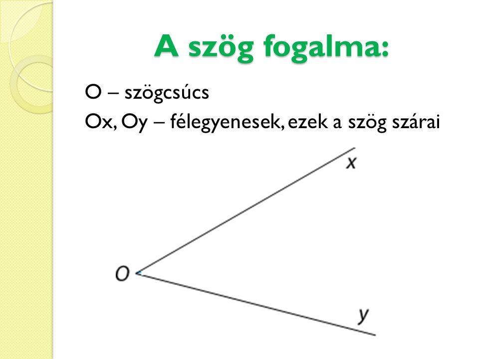 A szög fogalma: O – szögcsúcs Ox, Oy – félegyenesek, ezek a szög szárai
