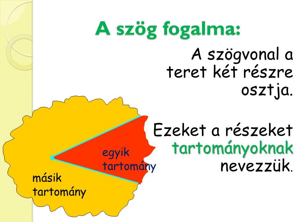 A szög fogalma: A szögvonal a teret két részre osztja. tartományoknak Ezeket a részeket tartományoknak nevezzük. másik tartomány egyik tartomány