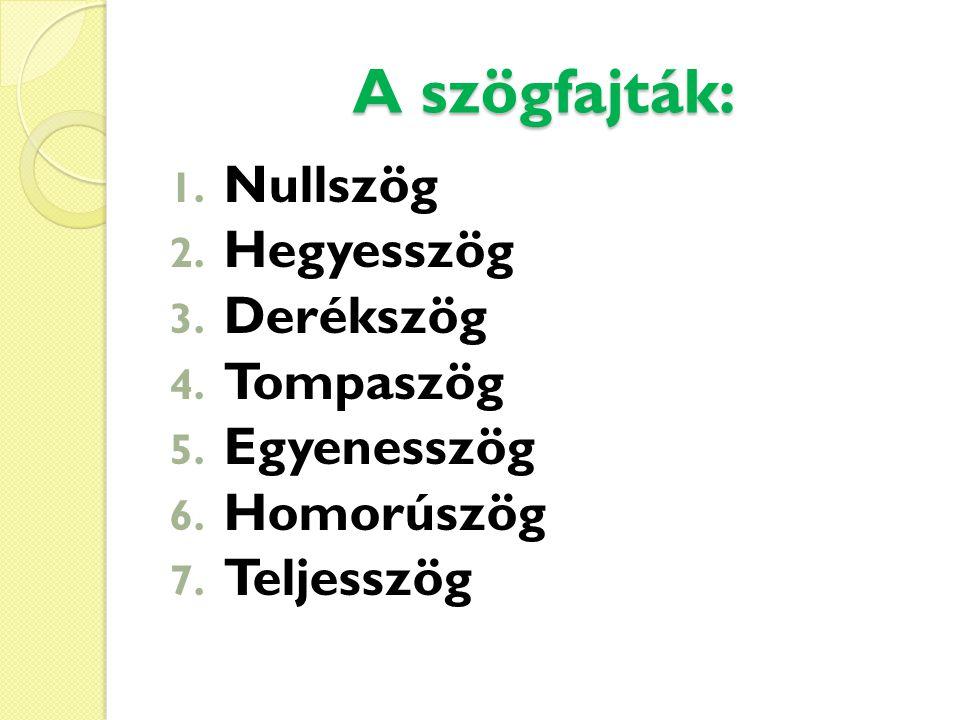 A szögfajták: 1. Nullszög 2. Hegyesszög 3. Derékszög 4. Tompaszög 5. Egyenesszög 6. Homorúszög 7. Teljesszög