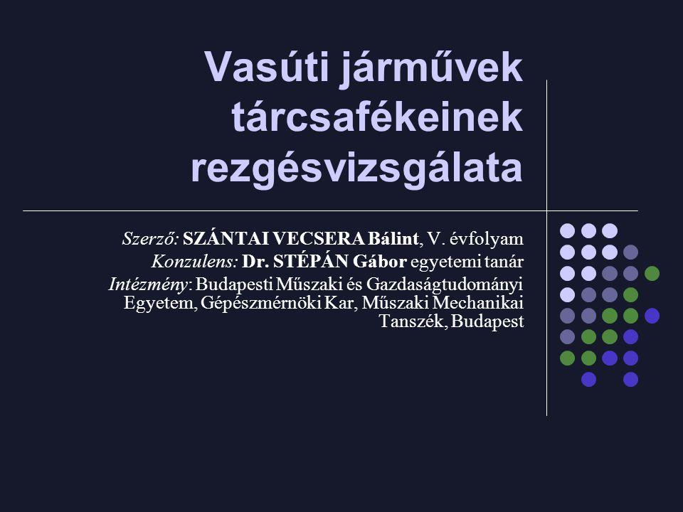 Vasúti járművek tárcsafékeinek rezgésvizsgálata Szerző: SZÁNTAI VECSERA Bálint, V.