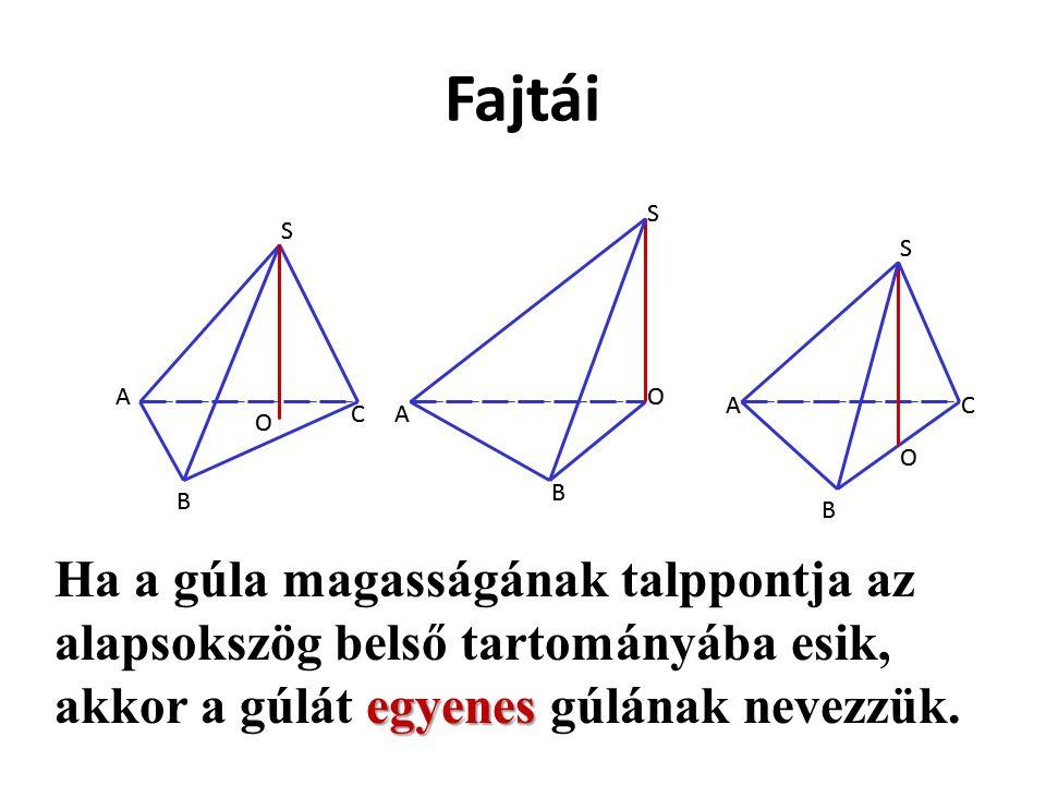 Fajtái S S S O O O A B CA A B B C S S S O O O A B CA A B B C Ha a gúla magasságának talppontja az alapsokszög belső tartományába esik, akkor a gúlát e