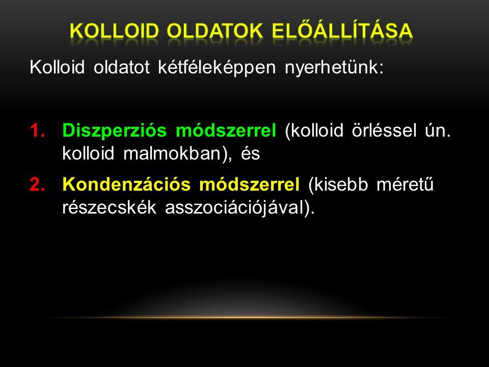 Kolloid oldatot kétféleképpen nyerhetünk: 1.Diszperziós módszerrel (kolloid örléssel ún. kolloid malmokban), és 2.Kondenzációs módszerrel (kisebb mére