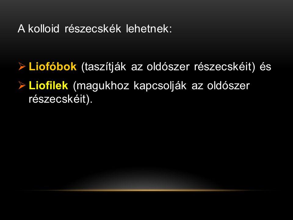 A kolloid részecskék lehetnek:  Liofóbok (taszítják az oldószer részecskéit) és  Liofilek (magukhoz kapcsolják az oldószer részecskéit).