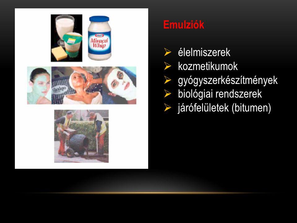 Emulziók  élelmiszerek  kozmetikumok  gyógyszerkészítmények  biológiai rendszerek  járófelületek (bitumen)