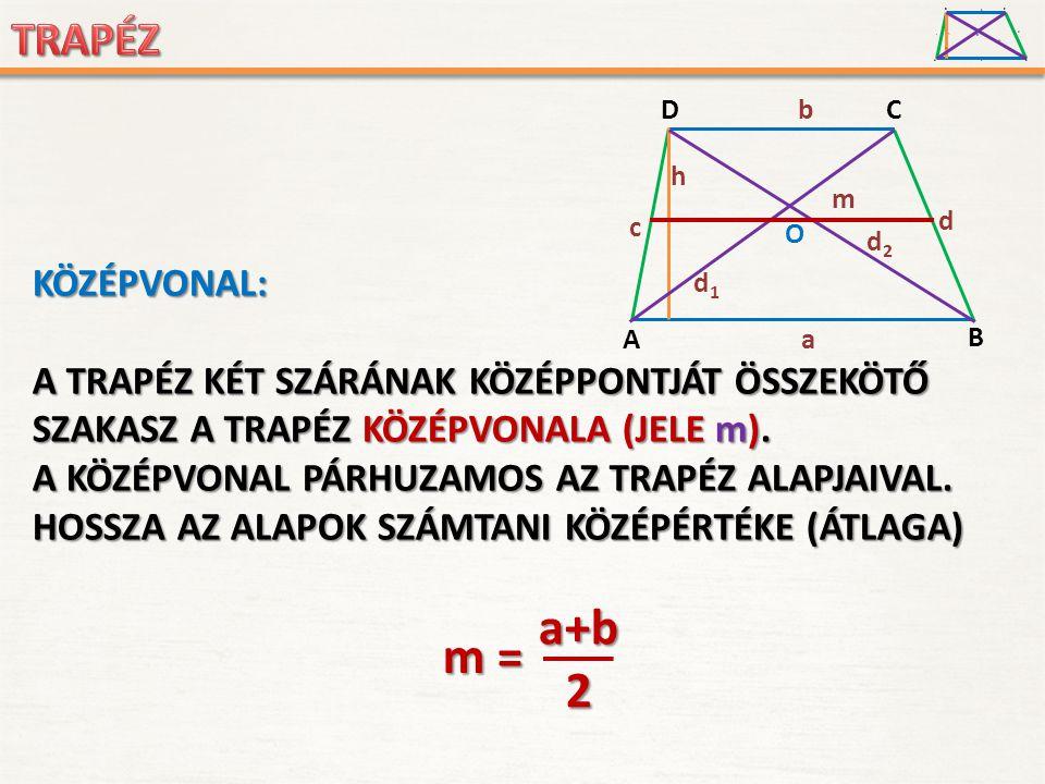 A D B C a c d b h O d1d1 d2d2 KÖZÉPVONAL: A TRAPÉZ KÉT SZÁRÁNAK SZÁRÁNAK KÖZÉPPONTJÁT KÖZÉPPONTJÁT ÖSSZEKÖTŐ SZAKASZ A TRAPÉZ KÖZÉPVONALA (JELE m).m).
