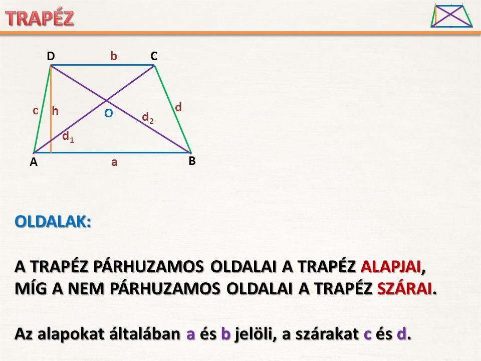 A D B C a c d b h O d1d1 d2d2 A D B C a c d b h O d1d1 d2d2 OLDALAK: A TRAPÉZ PÁRHUZAMOS OLDALAI A TRAPÉZ ALAPJAI, MÍG A NEM PÁRHUZAMOS OLDALAI A TRAP
