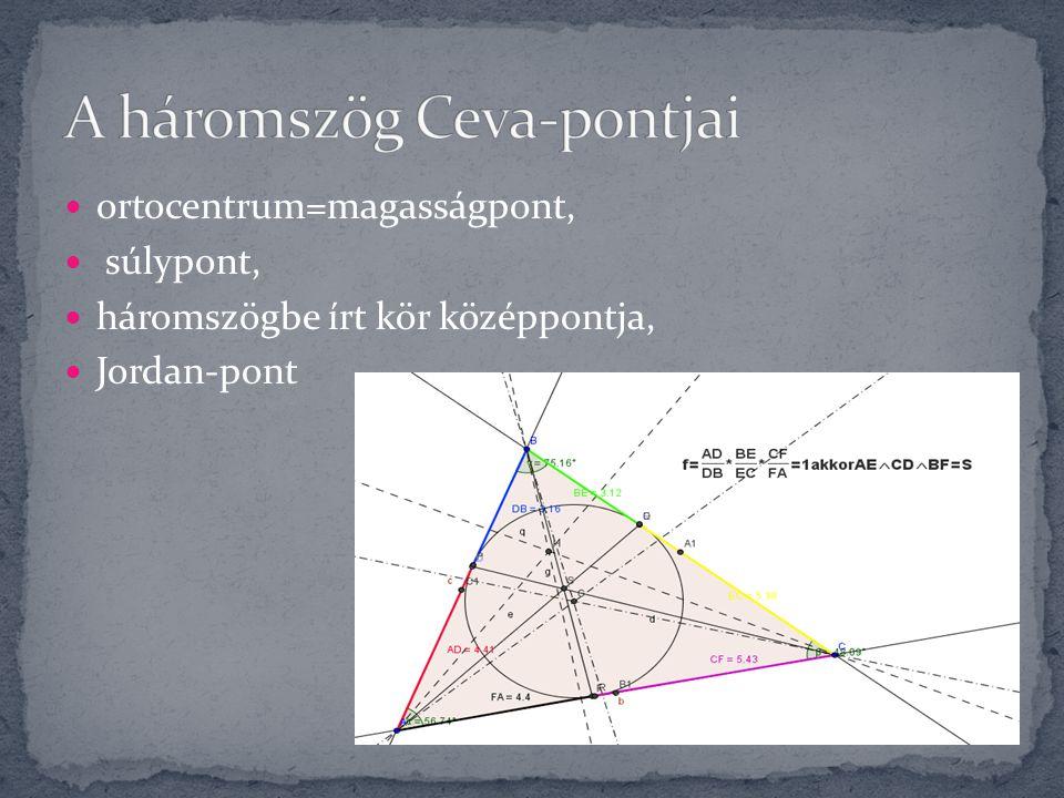 ortocentrum=magasságpont, súlypont, háromszögbe írt kör középpontja, Jordan-pont