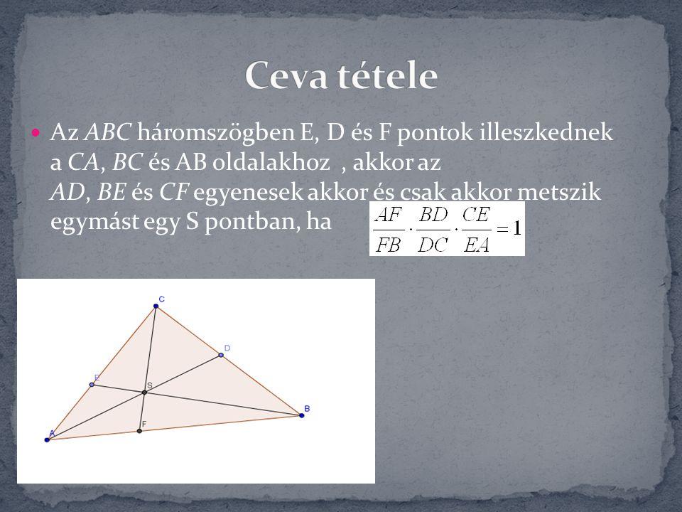 Az ABC háromszögben E, D és F pontok illeszkednek a CA, BC és AB oldalakhoz, akkor az AD, BE és CF egyenesek akkor és csak akkor metszik egymást egy S