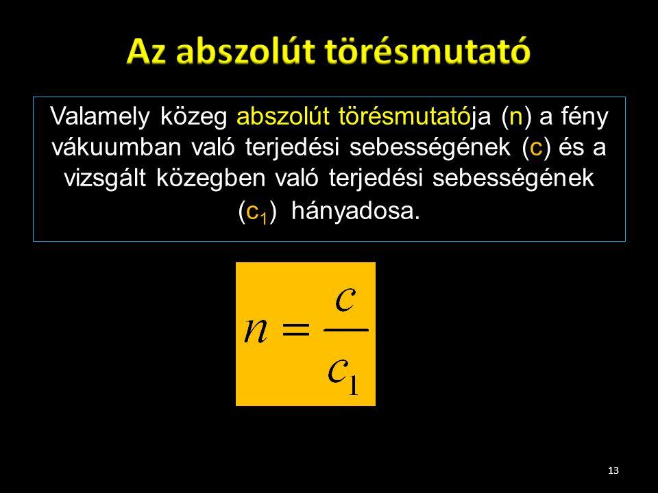 Valamely közeg abszolút törésmutatója (n) a fény vákuumban való terjedési sebességének (c) és a vizsgált közegben való terjedési sebességének (c 1 ) h