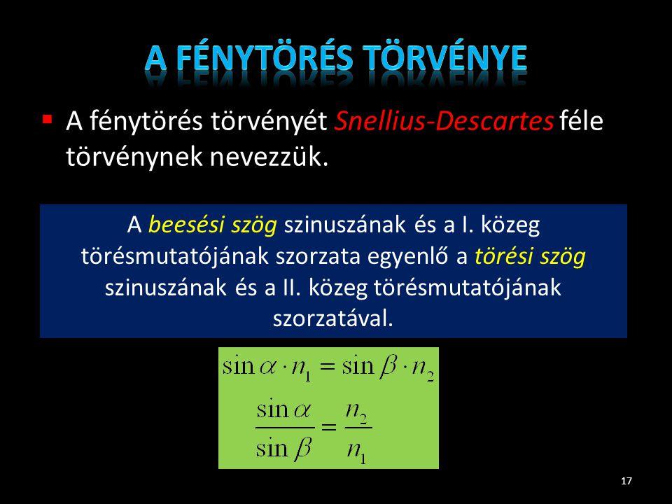  A fénytörés törvényét Snellius-Descartes féle törvénynek nevezzük. 17 A beesési szög szinuszának és a I. közeg törésmutatójának szorzata egyenlő a t
