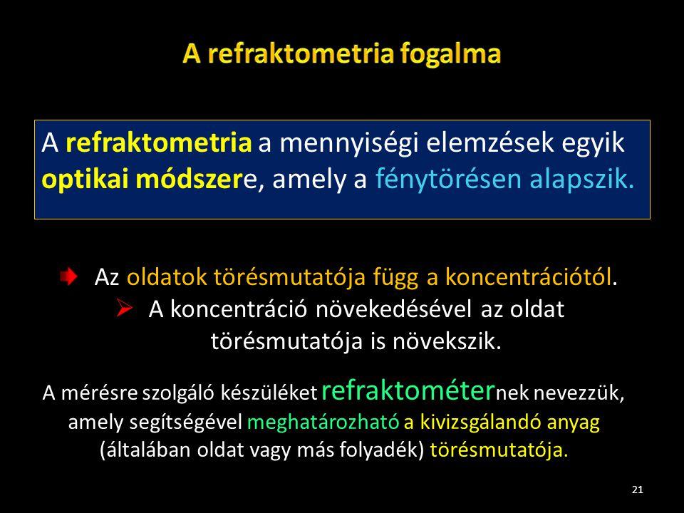 A refraktometria a mennyiségi elemzések egyik optikai módszere, amely a fénytörésen alapszik. 21 Az oldatok törésmutatója függ a koncentrációtól.  A
