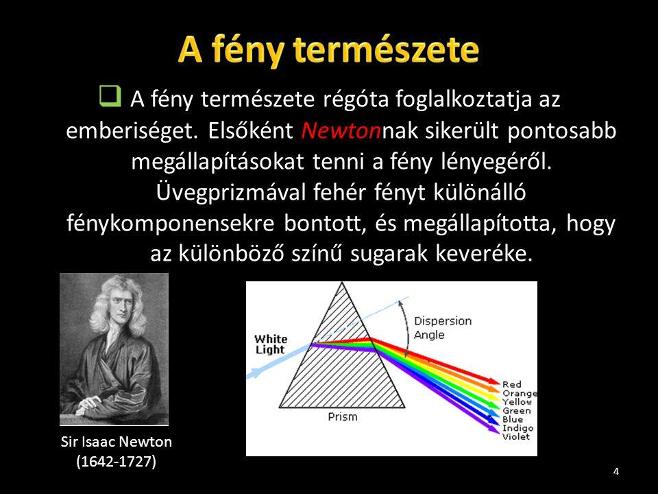  A fény olyan elektromágneses rezgés, amelynek elektromos és mágneses vektora egymásra és a fény haladásának irányára is merőlegesen rezeg.