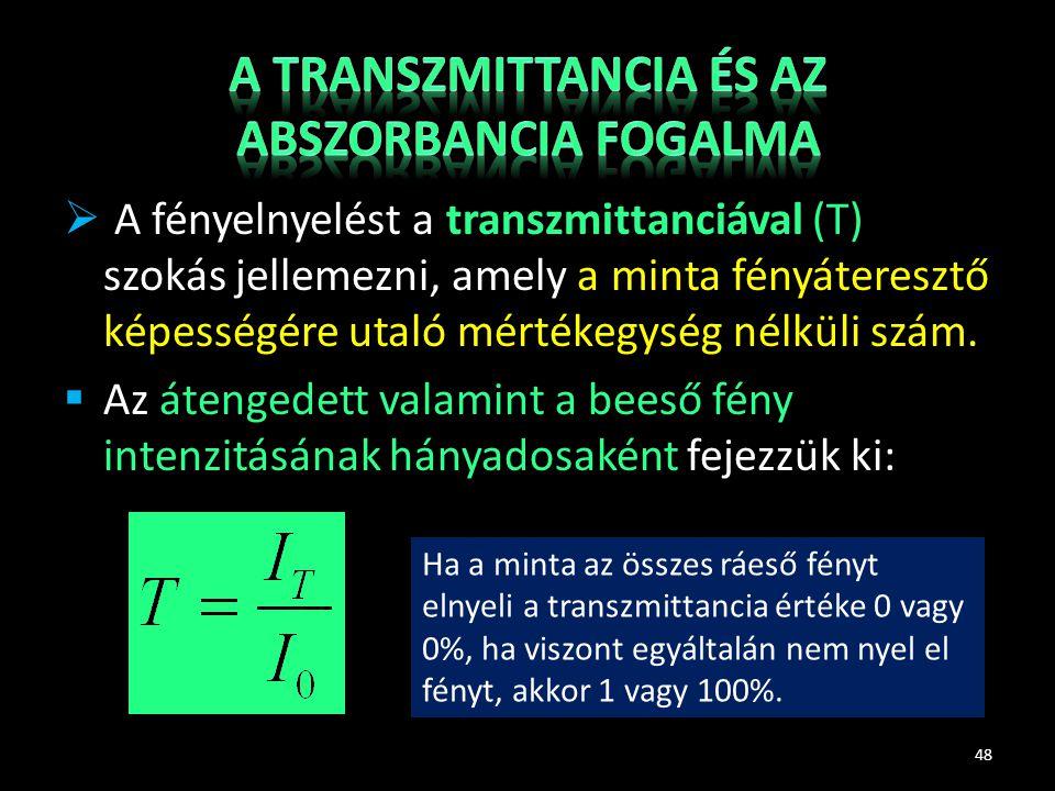  A fényelnyelést a transzmittanciával (T) szokás jellemezni, amely a minta fényáteresztő képességére utaló mértékegység nélküli szám.  Az átengedett