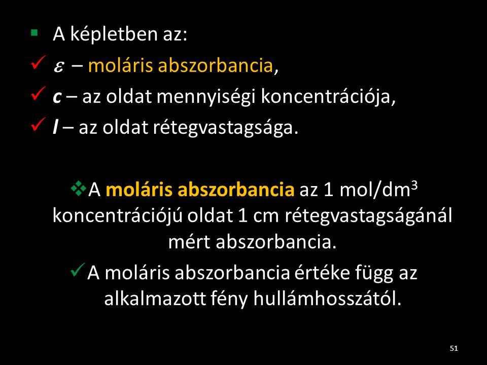  A képletben az:  – moláris abszorbancia, c – az oldat mennyiségi koncentrációja, l – az oldat rétegvastagsága.  A moláris abszorbancia az 1 mol/dm
