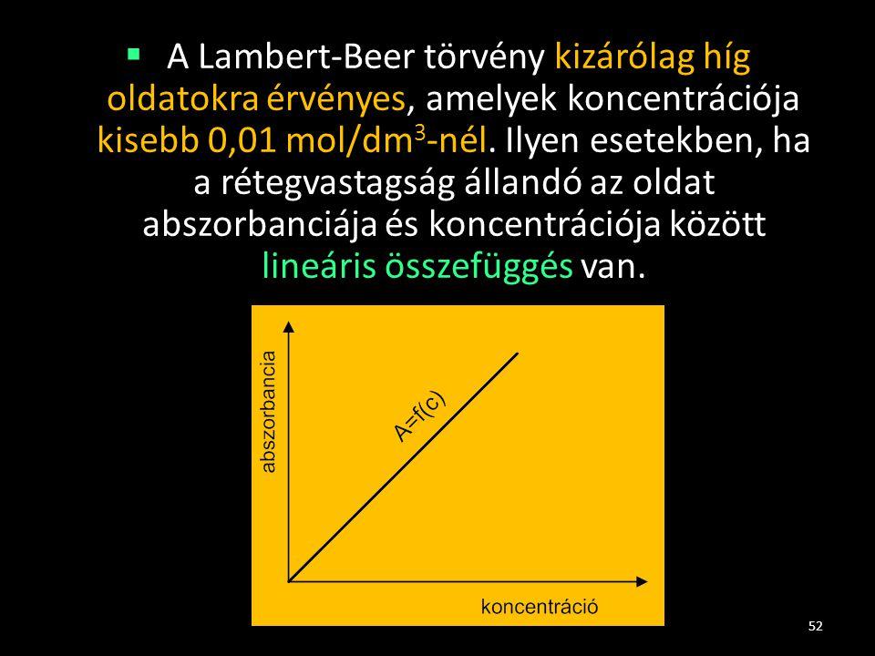  A Lambert-Beer törvény kizárólag híg oldatokra érvényes, amelyek koncentrációja kisebb 0,01 mol/dm 3 -nél. Ilyen esetekben, ha a rétegvastagság álla