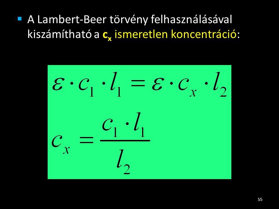  A Lambert-Beer törvény felhasználásával kiszámítható a c x ismeretlen koncentráció: 55