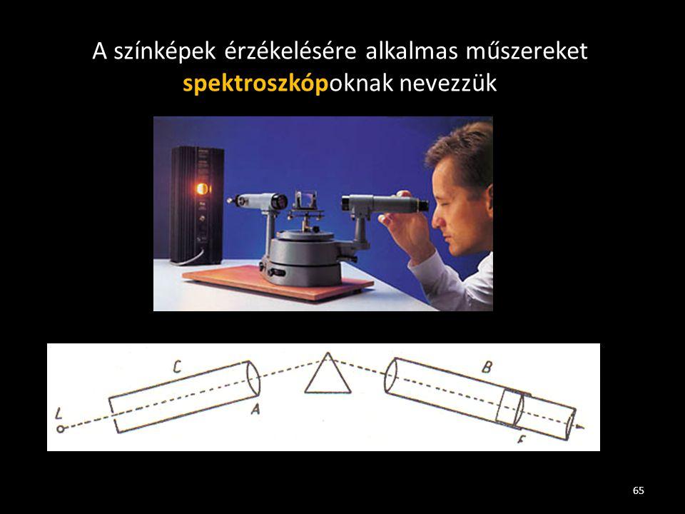 65 A színképek érzékelésére alkalmas műszereket spektroszkópoknak nevezzük