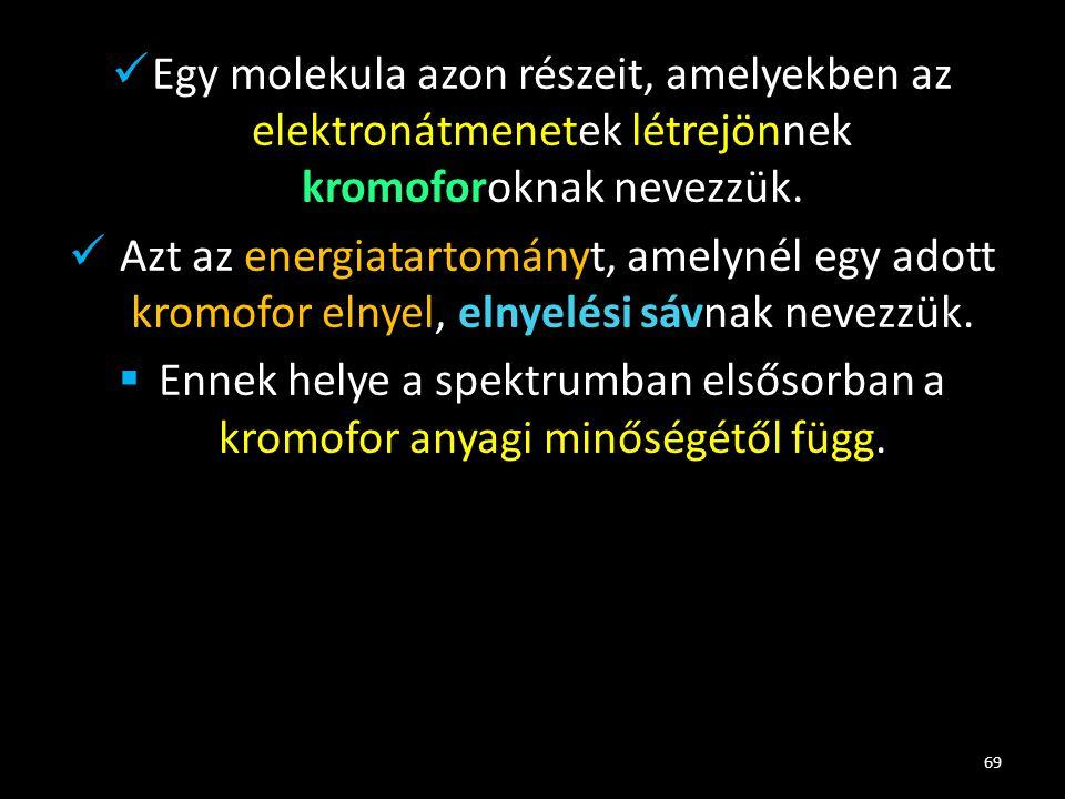 Egy molekula azon részeit, amelyekben az elektronátmenetek létrejönnek kromoforoknak nevezzük. Azt az energiatartományt, amelynél egy adott kromofor e