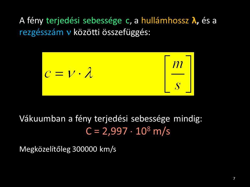 7 A fény terjedési sebessége c, a hullámhossz λ, és a rezgésszám közötti összefüggés: Vákuumban a fény terjedési sebessége mindig: C = 2,997  10 8 m/