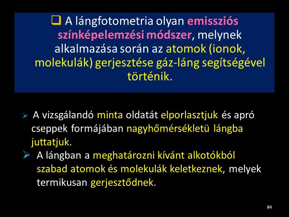  A lángfotometria olyan emissziós színképelemzési módszer, melynek alkalmazása során az atomok (ionok, molekulák) gerjesztése gáz-láng segítségével t