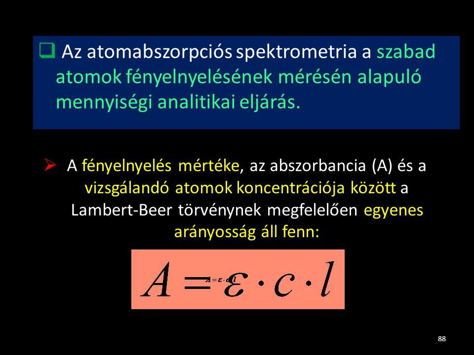  Az atomabszorpciós spektrometria a szabad atomok fényelnyelésének mérésén alapuló mennyiségi analitikai eljárás. 88  A fényelnyelés mértéke, az abs