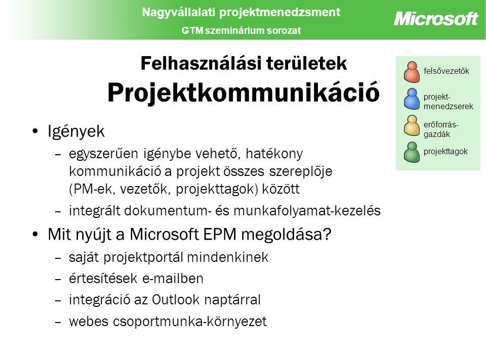 Nagyvállalati projektmenedzsment GTM szeminárium sorozat Felhasználási területek Projektkommunikáció Igények –egyszerűen igénybe vehető, hatékony kommunikáció a projekt összes szereplője (PM-ek, vezetők, projekttagok) között –integrált dokumentum- és munkafolyamat-kezelés Mit nyújt a Microsoft EPM megoldása.