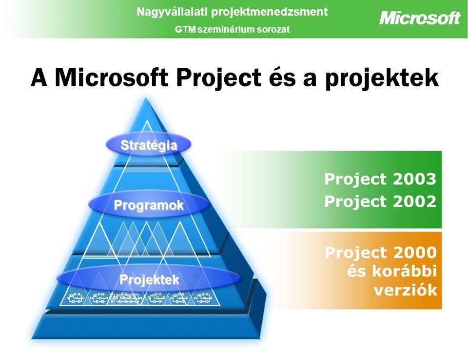 Nagyvállalati projektmenedzsment GTM szeminárium sorozat Project 2000 és korábbi verziók Project 2003 Project 2002 A Microsoft Project és a projektek Programok Stratégia Projektek