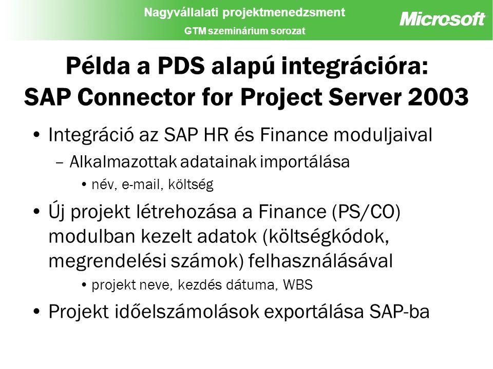 Nagyvállalati projektmenedzsment GTM szeminárium sorozat Példa a PDS alapú integrációra: SAP Connector for Project Server 2003 Integráció az SAP HR és Finance moduljaival –Alkalmazottak adatainak importálása név, e-mail, költség Új projekt létrehozása a Finance (PS/CO) modulban kezelt adatok (költségkódok, megrendelési számok) felhasználásával projekt neve, kezdés dátuma, WBS Projekt időelszámolások exportálása SAP-ba