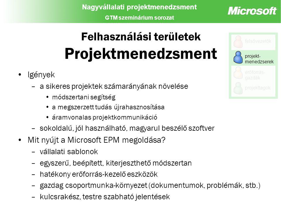 Nagyvállalati projektmenedzsment GTM szeminárium sorozat Felhasználási területek Projektmenedzsment Igények –a sikeres projektek számarányának növelése módszertani segítség a megszerzett tudás újrahasznosítása áramvonalas projektkommunikáció –sokoldalú, jól használható, magyarul beszélő szoftver Mit nyújt a Microsoft EPM megoldása.