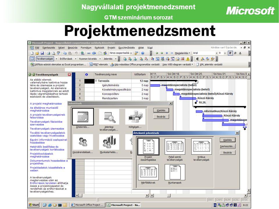 Nagyvállalati projektmenedzsment GTM szeminárium sorozat Projektmenedzsment