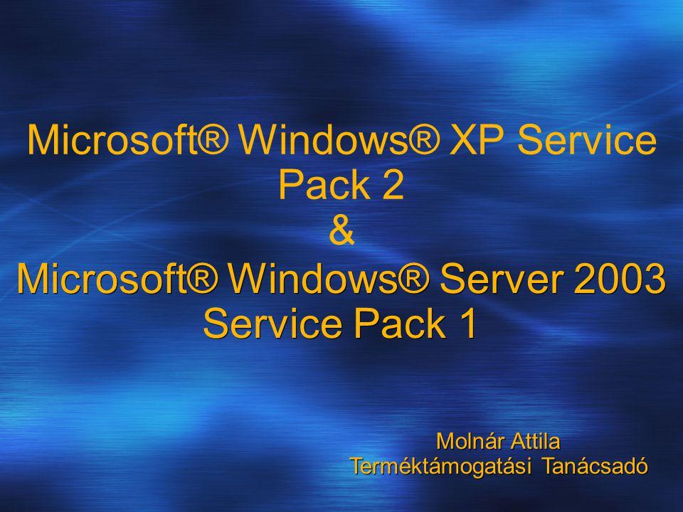 Microsoft® Windows® Server 2003 Service Pack 1 Microsoft® Windows® XP Service Pack 2 & Molnár Attila Terméktámogatási Tanácsadó