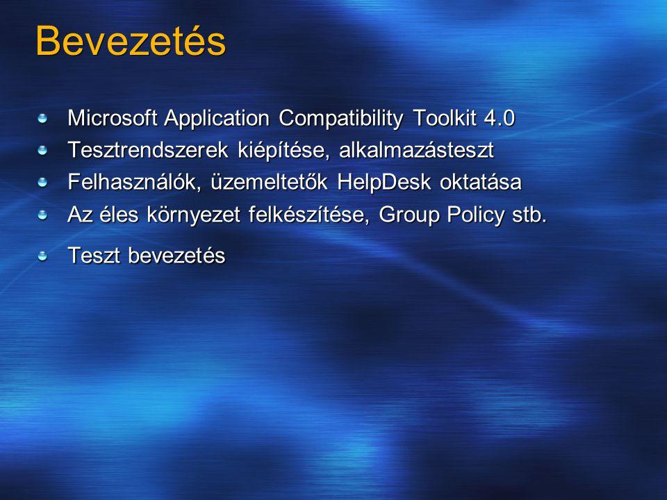 Bevezetés Microsoft Application Compatibility Toolkit 4.0 Tesztrendszerek kiépítése, alkalmazásteszt Felhasználók, üzemeltetők HelpDesk oktatása Az éles környezet felkészítése, Group Policy stb.