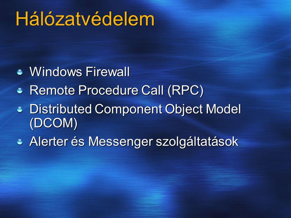 Hálózatvédelem Windows Firewall Remote Procedure Call (RPC) Distributed Component Object Model (DCOM) Alerter és Messenger szolgáltatások